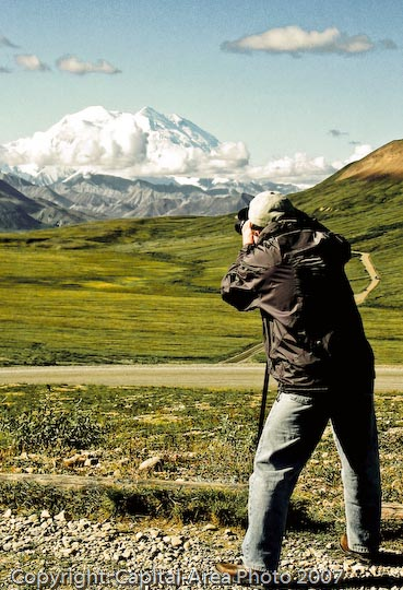 Mike Whalen photographing Mt. McKinley in Alaska